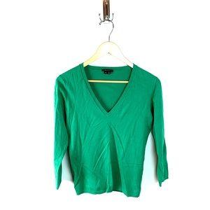 Theory Kelly Green V-Neck Sweater